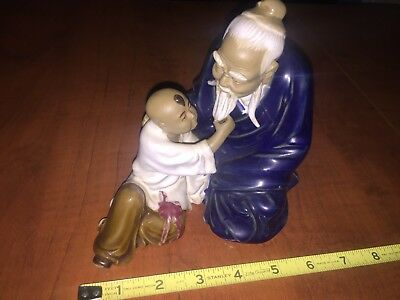 Vintage Chinese Mudmen Figure Of OLD MAN and BOY, Student Teacher Grandfather 6""