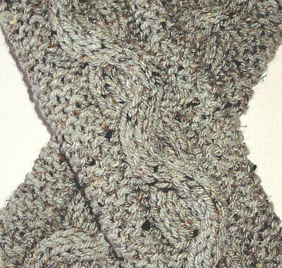 Grey Marble Cable & Garter Stitch Knit Fingerless Gloves Text Handmade Hand Knit