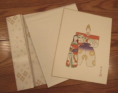 "Signed original watercolor painting Sumiko Sakamoto 12x16"" Ohina Sama dolls"