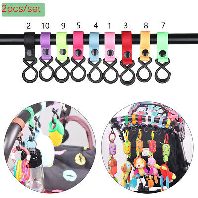 Colorful Plastic Hanging Stroller Hooks Shopping Bag Clip Pushchair Accessories