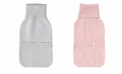 Laycuna 100% Cashmere Hot Water Bottle Cover Grey Pink BNWT RRP £110
