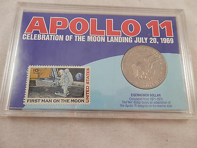 1974  Eisenhower Apollo 11 Dollar & 10 cent  First Man on the Moon Stamp set