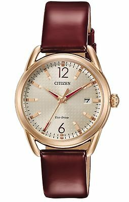 Citizen FE6083-05P Women's rose gold red leather band-Authorized dealer