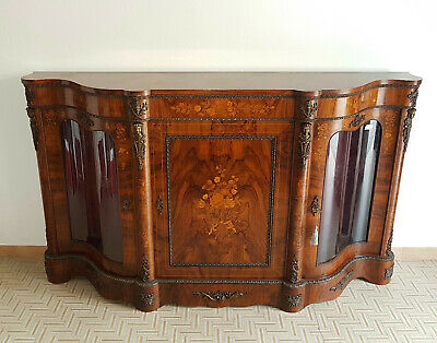 Elegant Napoleon Iii Sideboard  From 1900 ,  Inlaid Walnut , Gilt Bronze