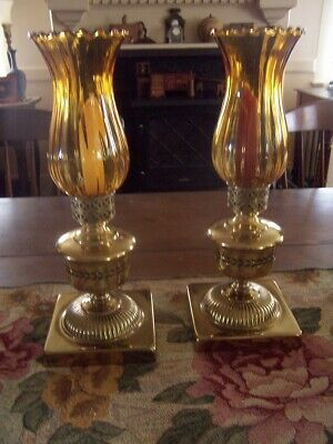 Pair of  vintage Tall heavy Brass Candlestick hurricane Lamps amber chimneys