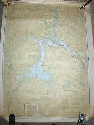 Wall Map Dover Portsmouth & Exeter Nh Noaa Us Survey & Soundings! Huge Size~Sale