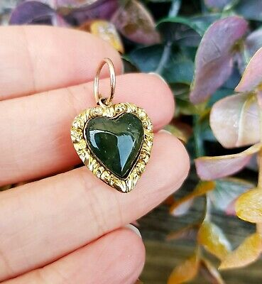 Antique Victorian 9ct Gold Miniature Chased Moss Agate Heart Charm Pendant Fob
