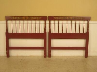 F29569EC: Pair of HITCHCOCK Paint Decorated Twin Size Bed Headboards