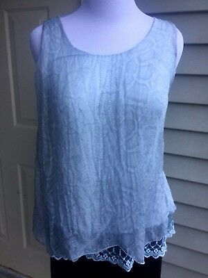 8100724e2e2 NWT Carla Conti 100% baby blue silk sleeveless blouse size M Made in Italy