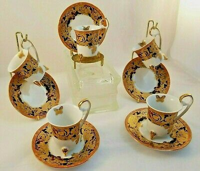5 Gift Plus Cups w/ Saucers Fine Porcelain Footed Demitasse Butterflies Vntg MCM