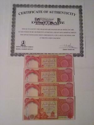 Iraqi Dinar 125,000 Sequential UNC 5 x 25,000 Auth. & Certificate copy Fast Ship
