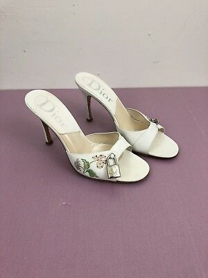 0c64c1a94ba3a CHRISTIAN DIOR HEELS Mules Slide Floral Open Toe Lock And Key Size 39.5 y2k