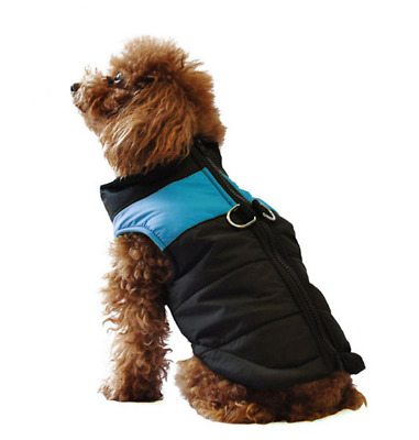 ubest Dog Coat Waterproof with D-Ring Warm Padded Puffer Vest Blue Large