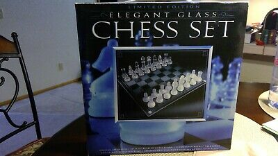 Vintage Elegant Glass Chess Game Set And Board