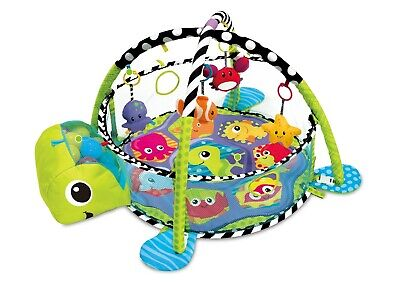 Baby Playmat Gym 3in1 Activity Turtle Floor Play Mat W/ Ball Pit & Sensory Toys