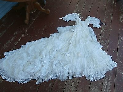 vintage 80's white wedding dress long train- lots of lacey ruffles