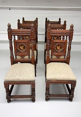 A Set Of 6 Carved Oak Chairs Stamped Gillow Designed By Bruce Talbert