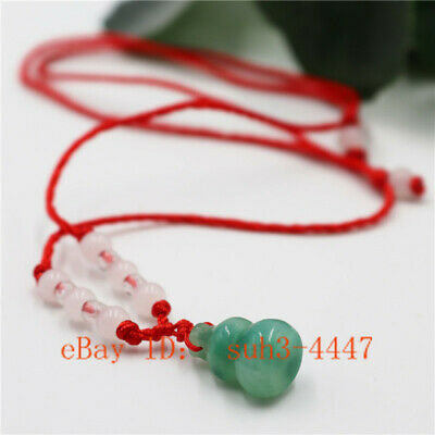Chinese Natural Green Jade Gourd Pendant Necklace Lucky Amulet Charm Jewelry Hot