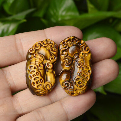 2pcs Tiger Eye Jade Pendant Chinese Hand Carved Pendant Necklace Lucky Amulet