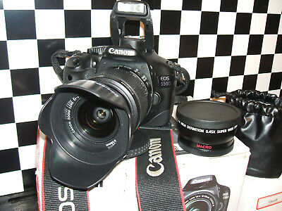 Canon EOS 550D / 18.0MP Digital SLR Camera black with THREE LENSES EF-S IS 18-55