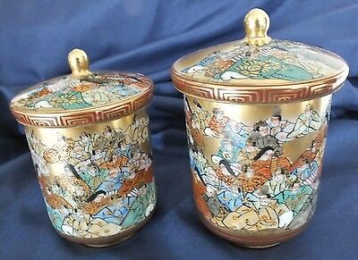 Japanese Kutani Meiji Calligraphy Poem Lidded Tea Cups Signed
