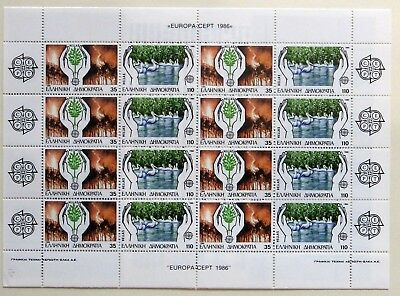 Grecia francobolli 1986, Europa protection nature enviroment,  full sheet MNH