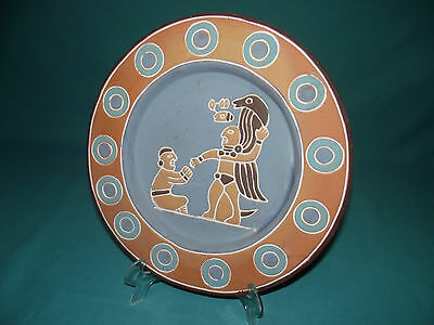 Old Mexico Aztec Mayan Shaman worship ritual wall ceramic folk art plate