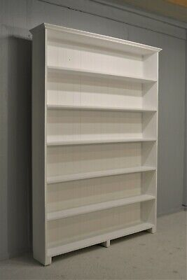 Large Solid Pine Bookcase Library Painted White Shabby Chic Delivery Available