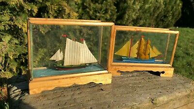 A Pair Of Beautiful Vintage Small Nautical Ships In Glass Case *