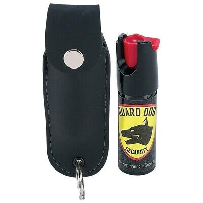 Guard Dog Security Pepper Spray Keychain & Leather Holster Red Hot Self Defense