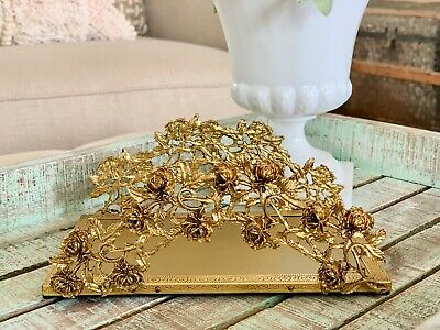 Globe 24K Gold Plated Ormolu Rose Filigree Vanity Towel Holder or Tray Rose