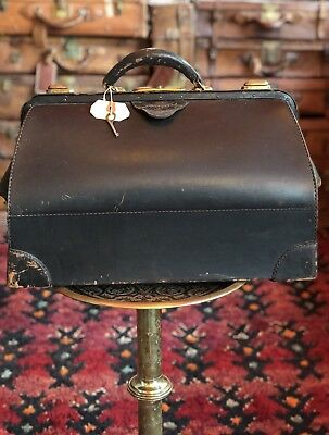 Antique Large Black Leather Dr Bag Medical Bag Apothecary Bag With Original Key