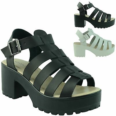 Womens Ladies Cleated Chunky Sole Gladiator Wedges Platform Sandals Shoes Size