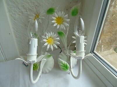 French a pair of tole wall light lovely daisy vintage