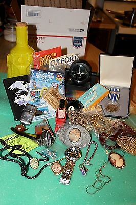 Estate Junk Drawer Lot - Jewelry, Cameo, Watch, Eight Ball, Medal & Lots More