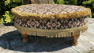 Vintage Small Wooden Foot Stool With Material Top *