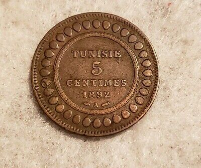 1892A Tunisia 5 Centimes coin