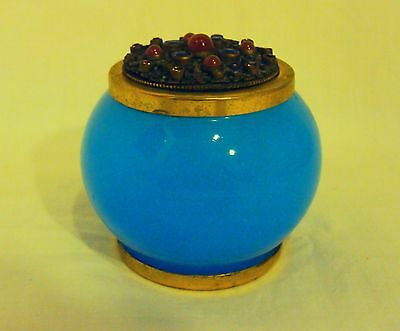 Antique Blue Opaline and Bronze Mounted Jar with Jeweled Lid, Dore, Trinket Box