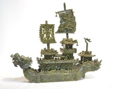 """Large Chinese Hardstone Jade Carved Dragon Boat 24""""x5""""x20 1/2"""" Oriental"""
