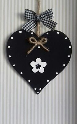 Black & White Wooden Hanging Heart Decoration Ornament Any Colours