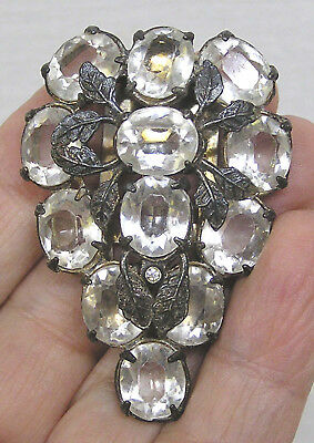 Vintage Jewelry Rhinestone Dress Clip Silvertone Leaves Bunch of Grapes