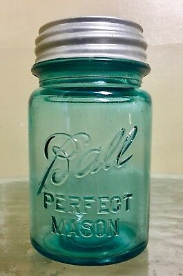 Rare Ball Blue Perfect Mason Jar Standard Pint Zinc Lid Cover Dated 1923 - 1933