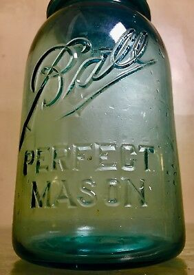 Rare Ball Blue Perfect Mason Jar Quart #4 Zinc Lid Cover Dated Range 1910 - 1923