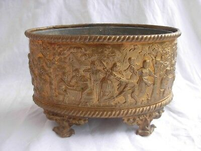 ANTIQUE FRENCH EMBOSSED BRASS JARDINIERE,LATE 19th CENTURY