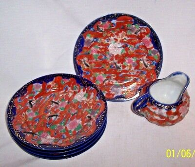 ANTIQUE CHINESE OR JAPANESE 6 PIECE RED BLUE GOLD GREEN Koi Fish Plates CREAMER