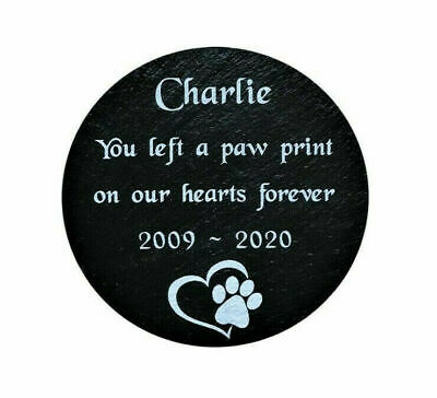 Personalised Engraved Pet Memorial Natural Slate Grave Marker Plaque Dog/ Cat