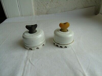 French antique vintage 2 of  porcelain switch on - off  classic