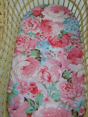 Bassinet Fitted Sheet Floral Peony Pink - Chloe 100% Cotton Handmade