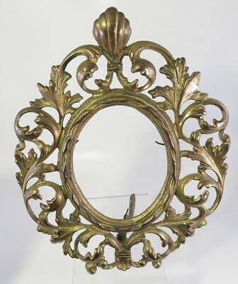 Victorian Ornate Gilt Cast Iron Oval Standing Frame