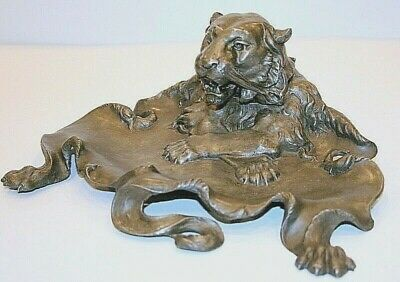 Antique Cast Metal Spelter Lion Head Inkwell Music Box